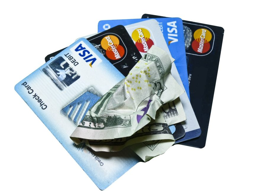 credit cards fanned
